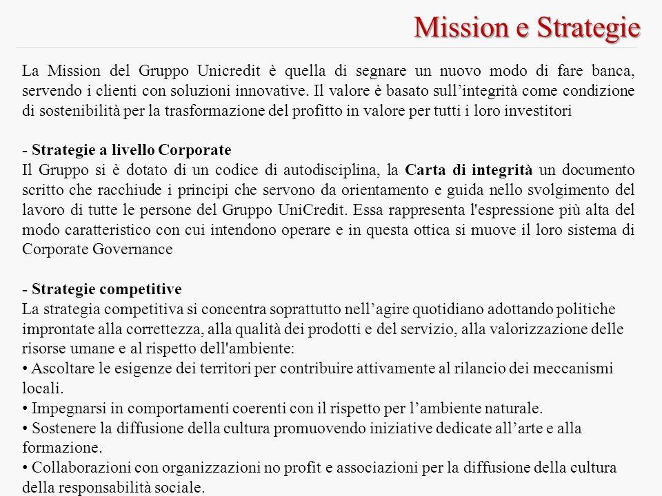 Mission e Strategie La Mission del Gruppo Unicredit è quella di segnare un nuovo modo di fare banca, servendo i clienti con soluzioni innovative.
