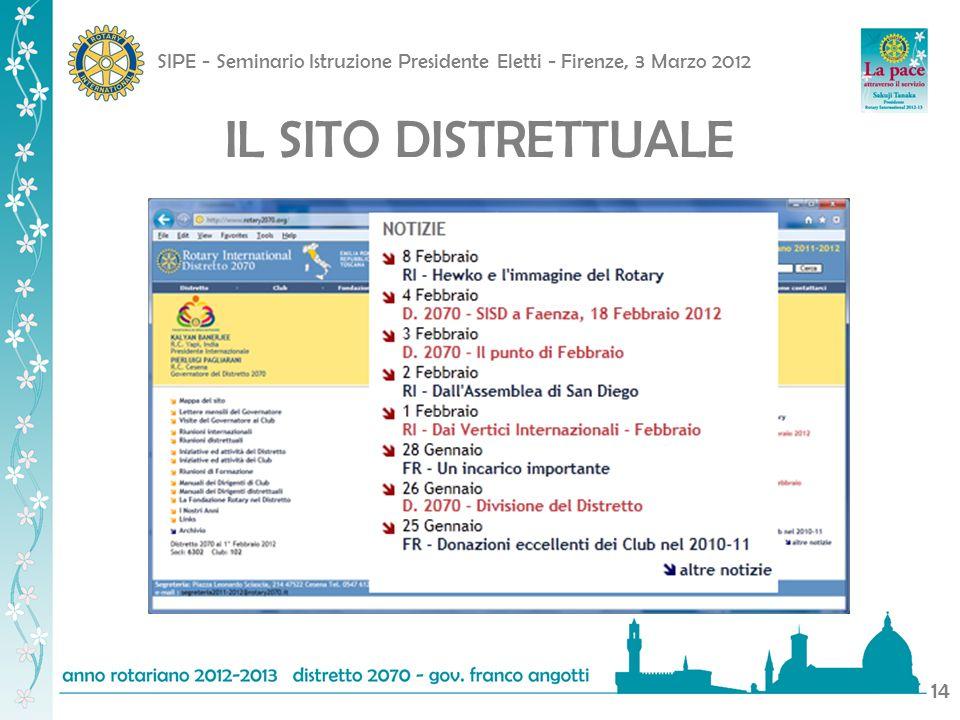 SIPE - Seminario Istruzione Presidente Eletti - Firenze, 3 Marzo 2012 14 IL SITO DISTRETTUALE