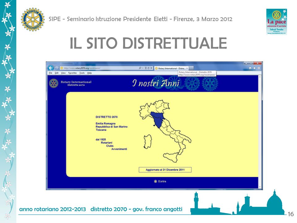 SIPE - Seminario Istruzione Presidente Eletti - Firenze, 3 Marzo 2012 16 IL SITO DISTRETTUALE