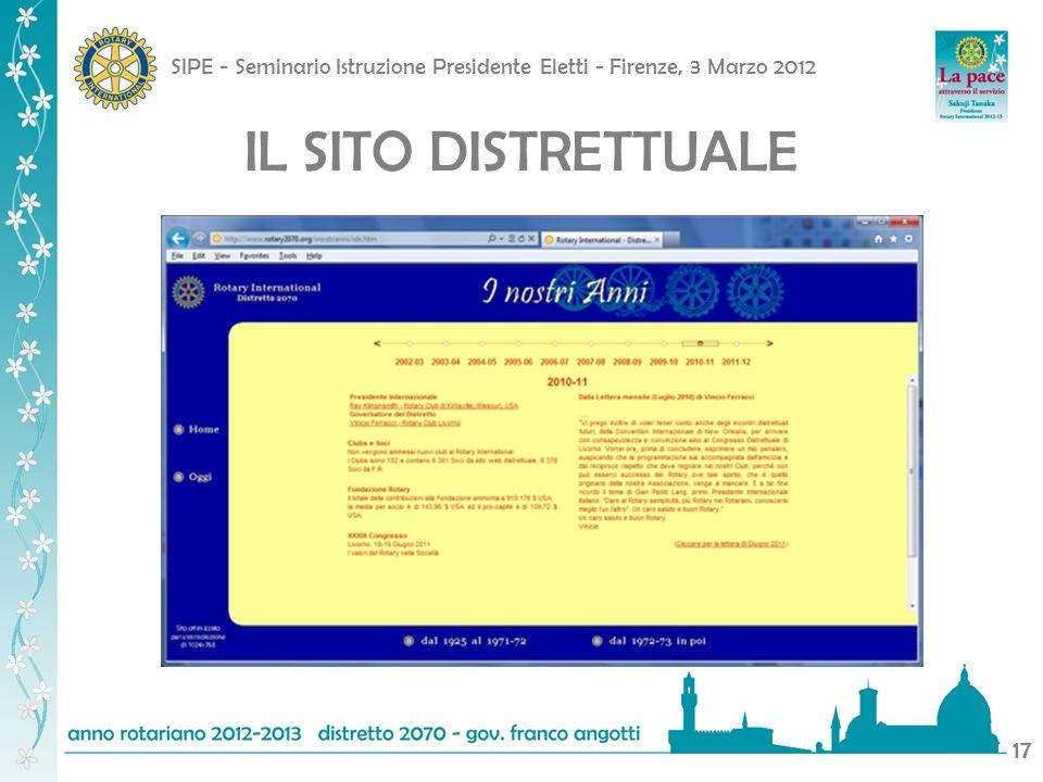 SIPE - Seminario Istruzione Presidente Eletti - Firenze, 3 Marzo 2012 17 IL SITO DISTRETTUALE