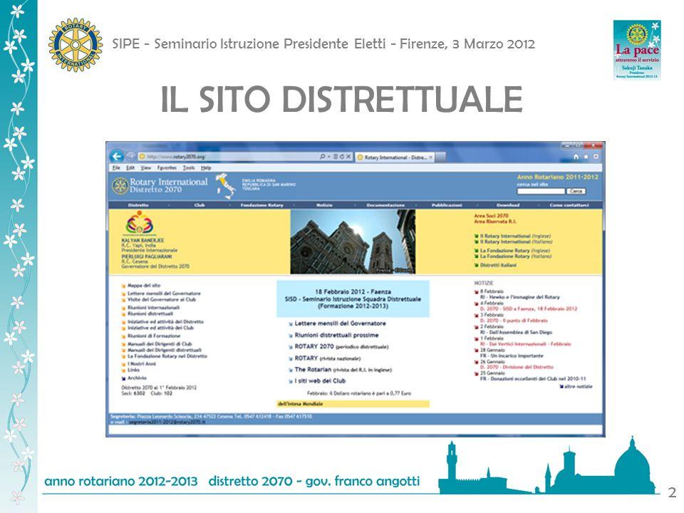 SIPE - Seminario Istruzione Presidente Eletti - Firenze, 3 Marzo 2012 2 IL SITO DISTRETTUALE