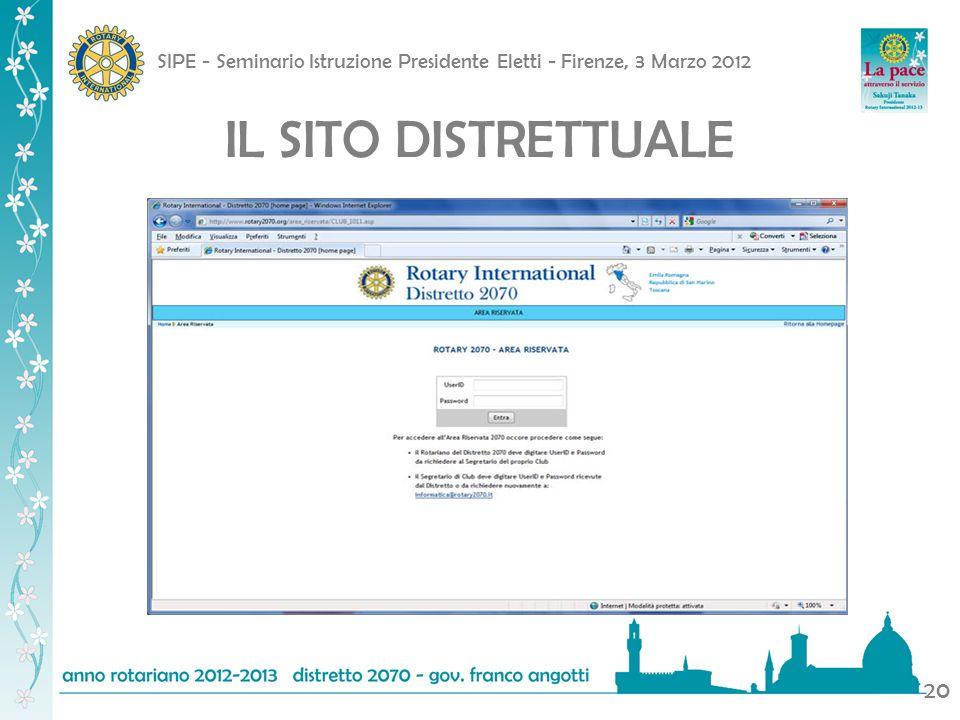 SIPE - Seminario Istruzione Presidente Eletti - Firenze, 3 Marzo 2012 20 IL SITO DISTRETTUALE