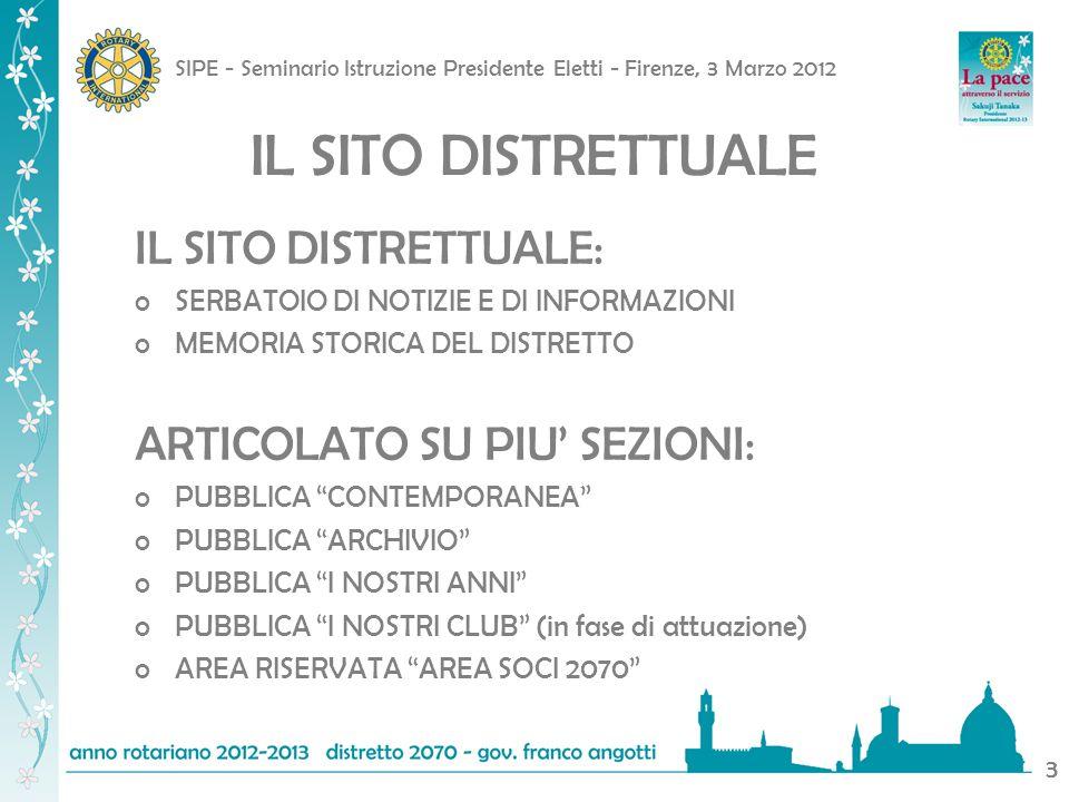 SIPE - Seminario Istruzione Presidente Eletti - Firenze, 3 Marzo 2012 3 IL SITO DISTRETTUALE IL SITO DISTRETTUALE: oSERBATOIO DI NOTIZIE E DI INFORMAZIONI oMEMORIA STORICA DEL DISTRETTO ARTICOLATO SU PIU SEZIONI: oPUBBLICA CONTEMPORANEA oPUBBLICA ARCHIVIO oPUBBLICA I NOSTRI ANNI oPUBBLICA I NOSTRI CLUB (in fase di attuazione) oAREA RISERVATA AREA SOCI 2070