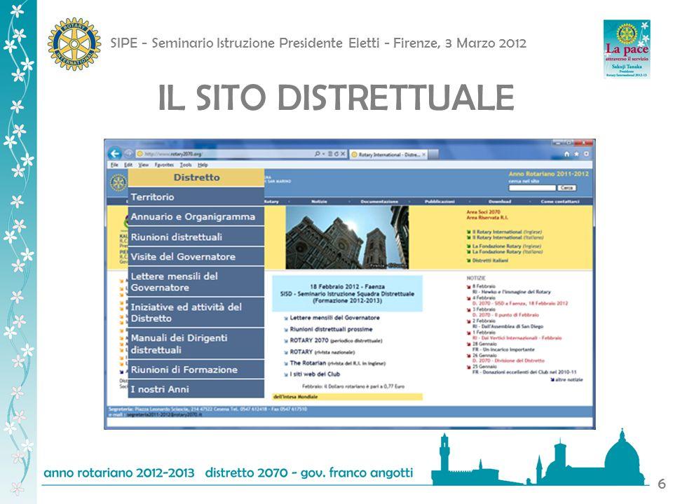 SIPE - Seminario Istruzione Presidente Eletti - Firenze, 3 Marzo 2012 6 IL SITO DISTRETTUALE