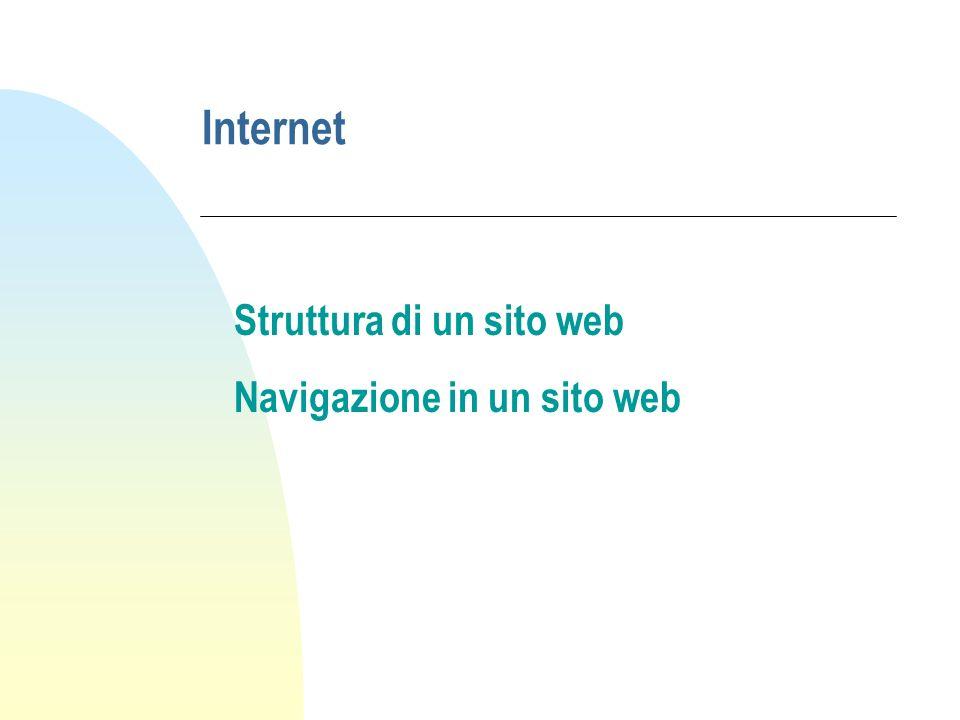 Internet Struttura di un sito web Navigazione in un sito web
