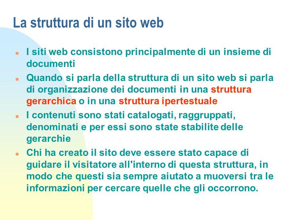 La struttura di un sito web n I siti web consistono principalmente di un insieme di documenti n Quando si parla della struttura di un sito web si parl