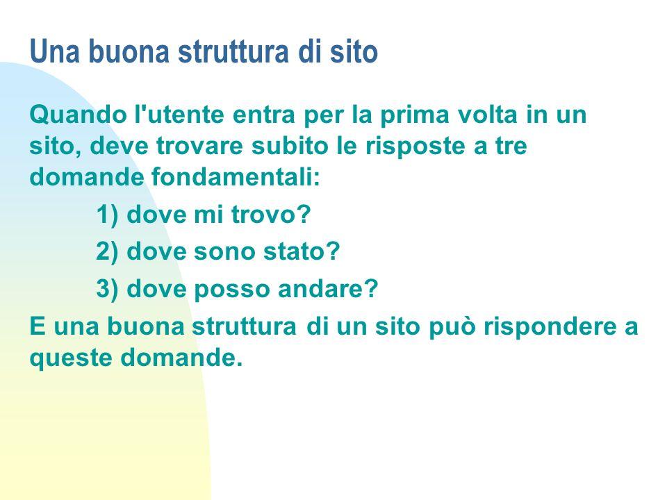 Una buona struttura di sito Quando l'utente entra per la prima volta in un sito, deve trovare subito le risposte a tre domande fondamentali: 1) dove m