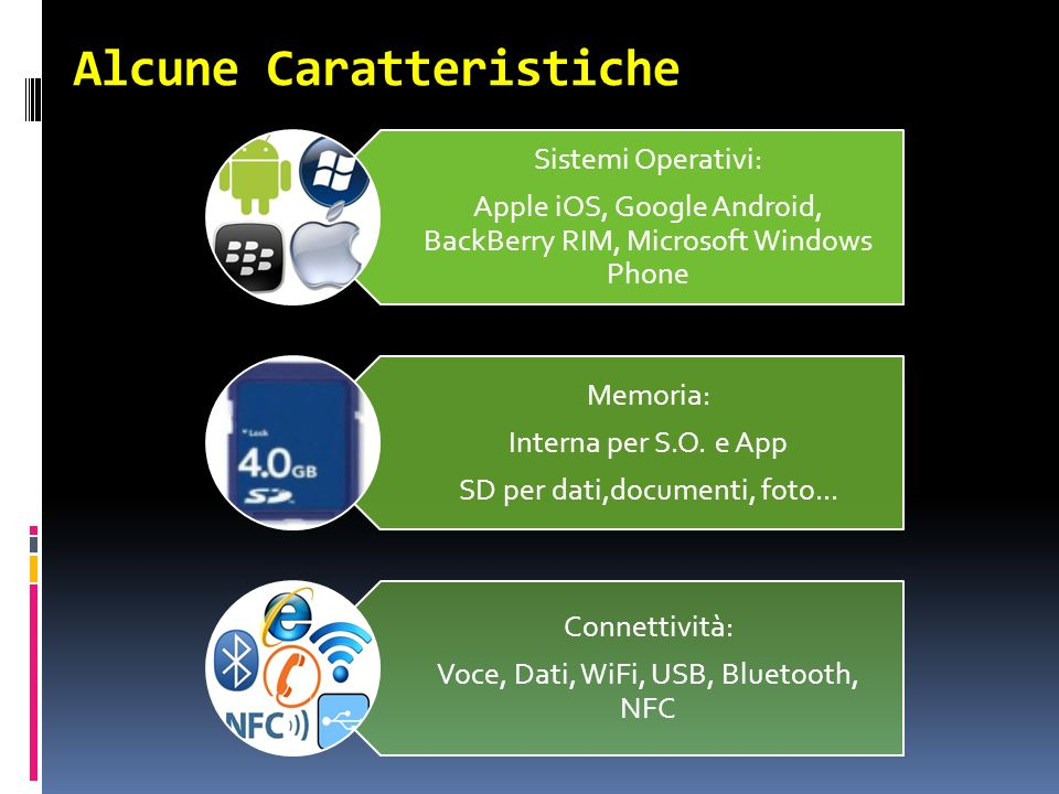 Alcune Caratteristiche Sistemi Operativi: Apple iOS, Google Android, BackBerry RIM, Microsoft Windows Phone Memoria: Interna per S.O.
