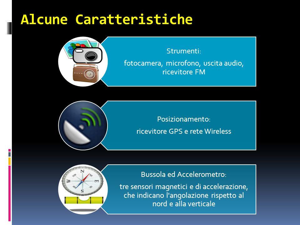Alcune Caratteristiche Strumenti: fotocamera, microfono, uscita audio, ricevitore FM Posizionamento: ricevitore GPS e rete Wireless Bussola ed Accelerometro: tre sensori magnetici e di accelerazione, che indicano l angolazione rispetto al nord e alla verticale