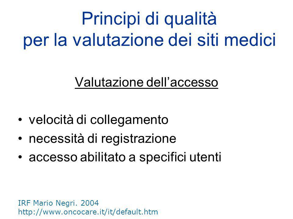 Periodicità dellaggiornamento data pubblicazione data ultima modifica Principi di qualità per la valutazione dei siti medici IRF Mario Negri.