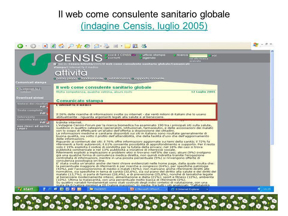Il web come consulente sanitario globale (indagine Censis, luglio 2005) (indagine Censis, luglio 2005)