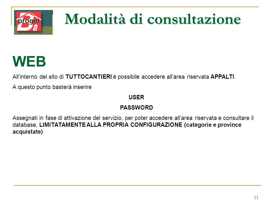 11 Modalità di consultazione WEB Allinterno del sito di TUTTOCANTIERI è possibile accedere allarea riservata APPALTI. A questo punto basterà inserire