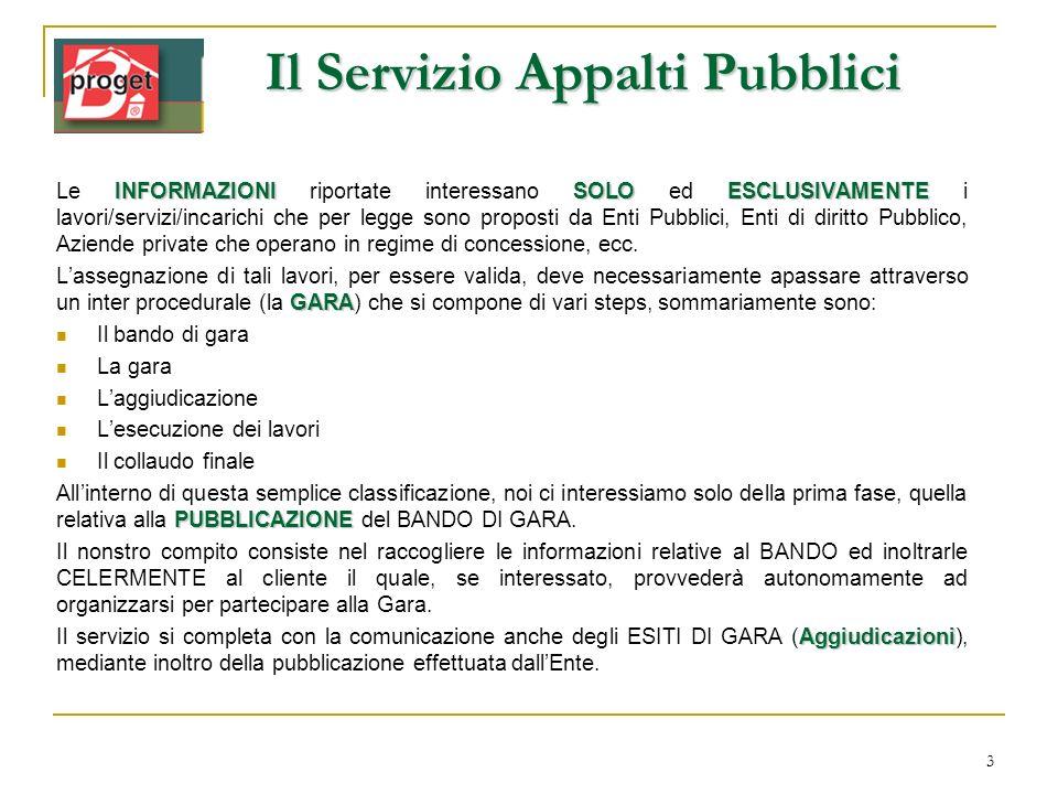 3 Il Servizio Appalti Pubblici INFORMAZIONISOLOESCLUSIVAMENTE Le INFORMAZIONI riportate interessano SOLO ed ESCLUSIVAMENTE i lavori/servizi/incarichi