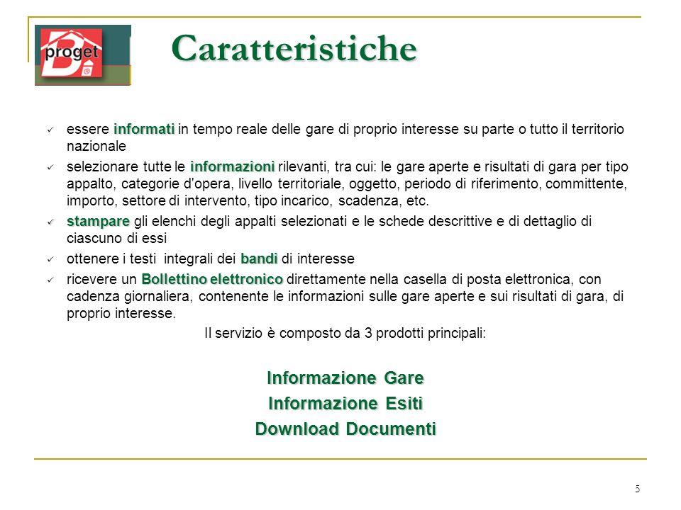 5 informati essere informati in tempo reale delle gare di proprio interesse su parte o tutto il territorio nazionale informazioni selezionare tutte le