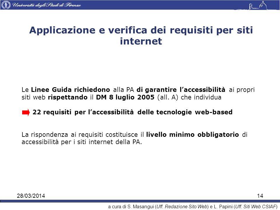 28/03/201414 Le Linee Guida richiedono alla PA di garantire laccessibilità ai propri siti web rispettando il DM 8 luglio 2005 (all.