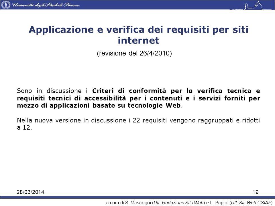 28/03/201419 Applicazione e verifica dei requisiti per siti internet (revisione del 26/4/2010) Sono in discussione i Criteri di conformità per la verifica tecnica e requisiti tecnici di accessibilità per i contenuti e i servizi forniti per mezzo di applicazioni basate su tecnologie Web.