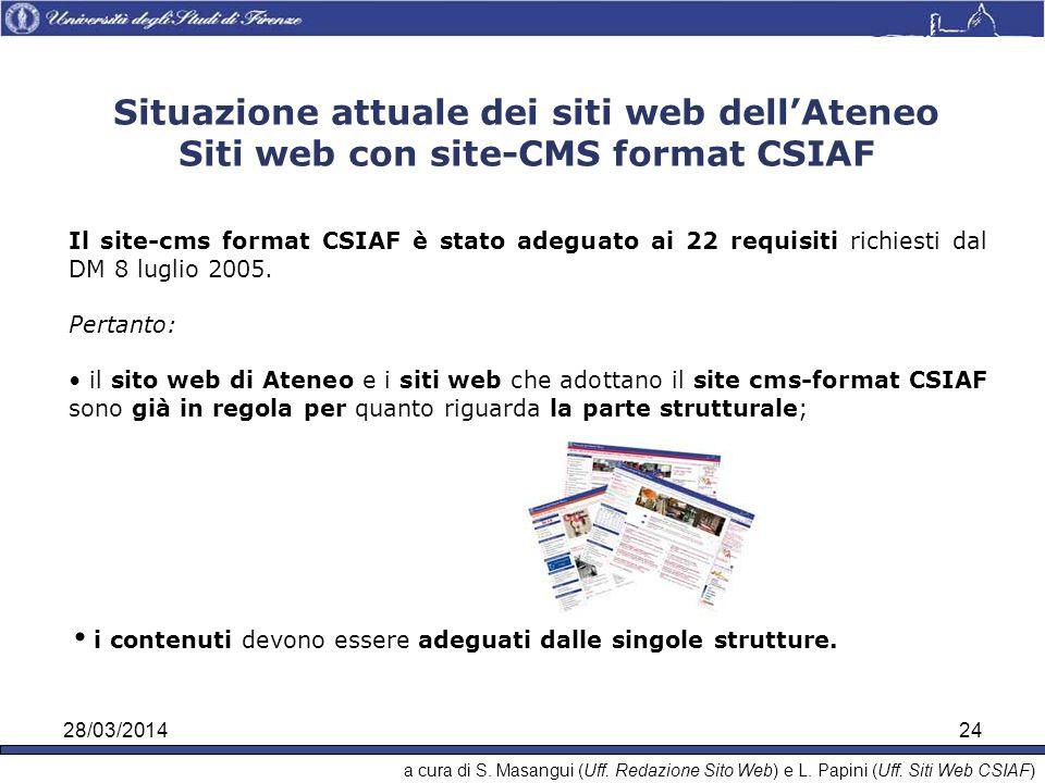 28/03/201424 i contenuti devono essere adeguati dalle singole strutture.