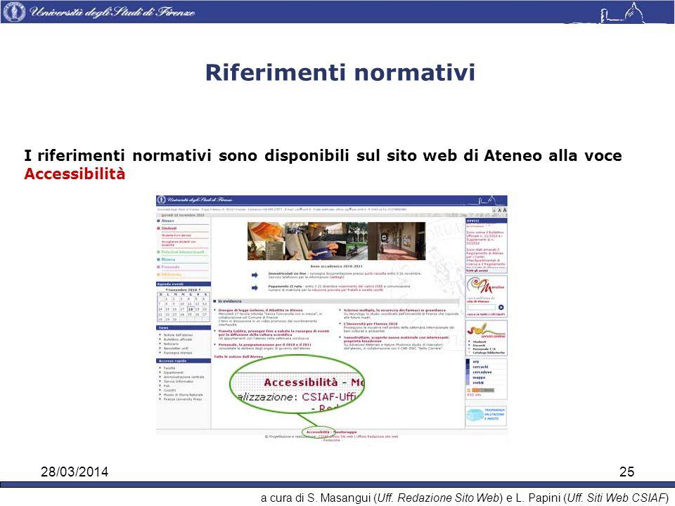 28/03/201425 Riferimenti normativi I riferimenti normativi sono disponibili sul sito web di Ateneo alla voce Accessibilità a cura di S.