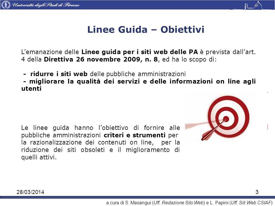 28/03/20143 Linee Guida – Obiettivi Lemanazione delle Linee guida per i siti web delle PA è prevista dallart.