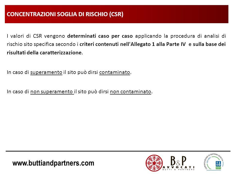 www.buttiandpartners.com CONCENTRAZIONI SOGLIA DI RISCHIO (CSR) I valori di CSR vengono determinati caso per caso applicando la procedura di analisi d