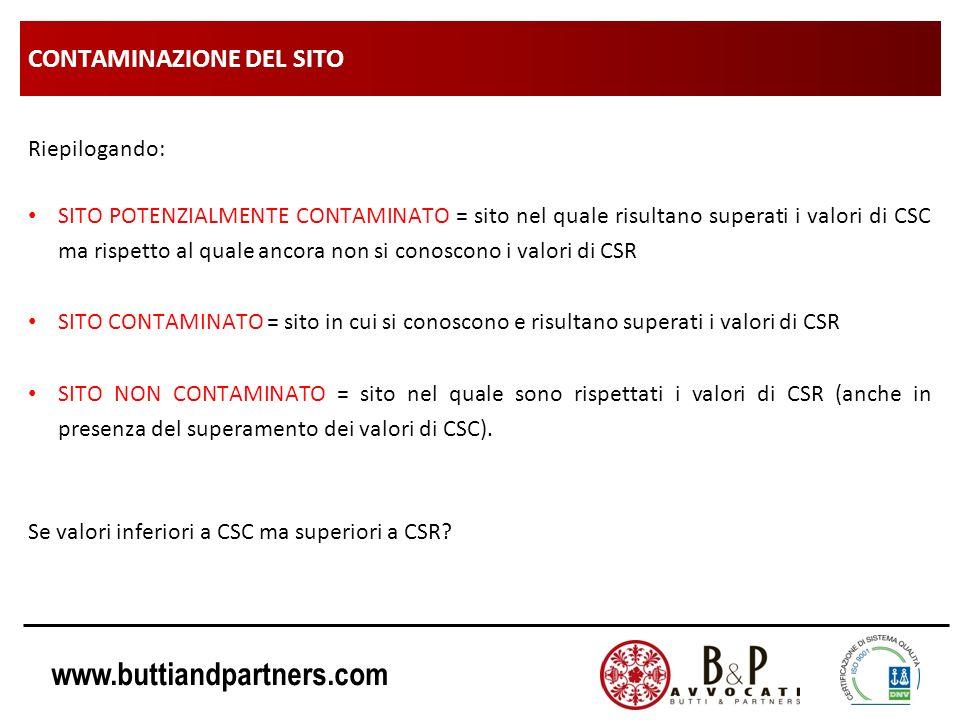 www.buttiandpartners.com CONTAMINAZIONE DEL SITO Riepilogando: SITO POTENZIALMENTE CONTAMINATO = sito nel quale risultano superati i valori di CSC ma