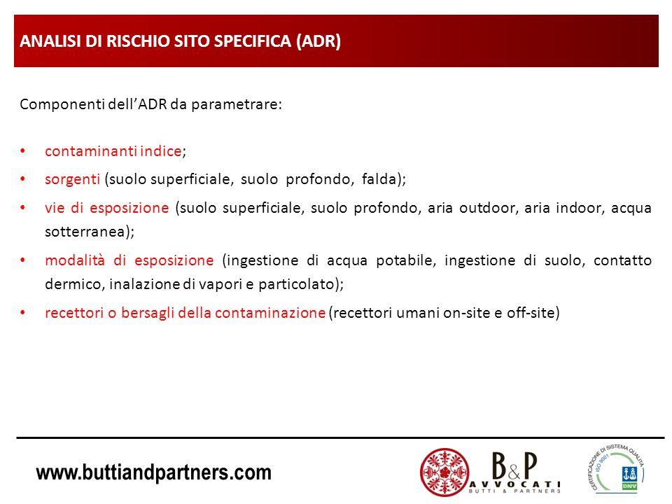 www.buttiandpartners.com ANALISI DI RISCHIO SITO SPECIFICA (ADR) Componenti dellADR da parametrare: contaminanti indice; sorgenti (suolo superficiale,