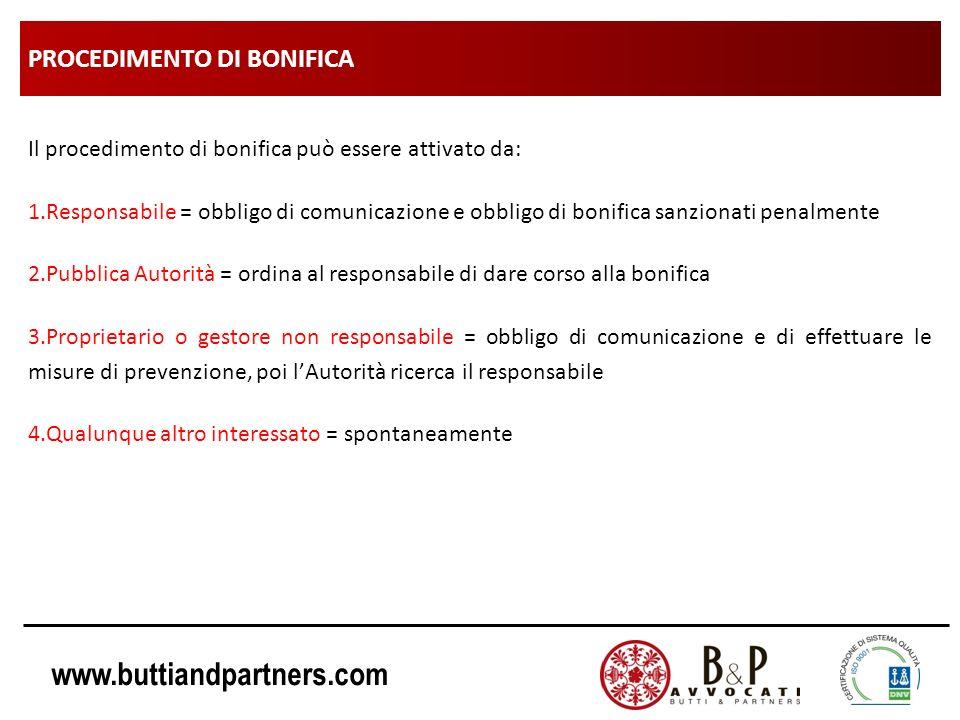www.buttiandpartners.com PROCEDIMENTO DI BONIFICA Il procedimento di bonifica può essere attivato da: 1.Responsabile = obbligo di comunicazione e obbl