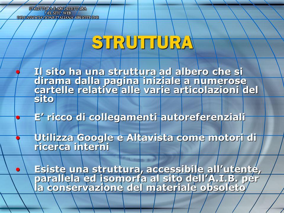 STRUTTURA Il sito ha una struttura ad albero che si dirama dalla pagina iniziale a numerose cartelle relative alle varie articolazioni del sitoIl sito