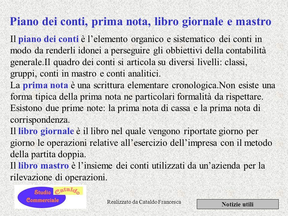 Realizzato da Cataldo Francesca Notizie utili Contabilità generale La contabilità generale è linsieme delle rilevazioni tra loro coordinate e collegat
