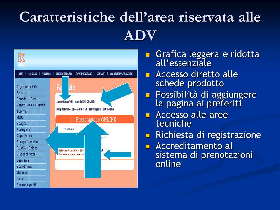 Caratteristiche dellarea riservata alle ADV Grafica leggera e ridotta allessenziale Accesso diretto alle schede prodotto Possibilità di aggiungere la pagina ai preferiti Accesso alle aree tecniche Richiesta di registrazione Accreditamento al sistema di prenotazioni online