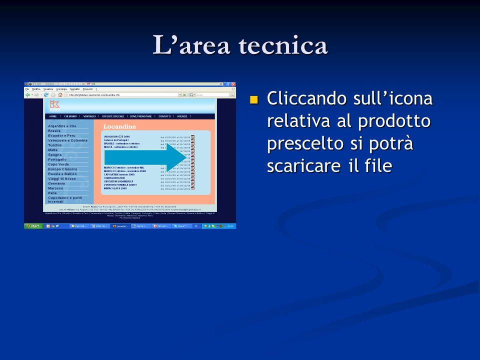 Larea tecnica Cliccando sullicona relativa al prodotto prescelto si potrà scaricare il file