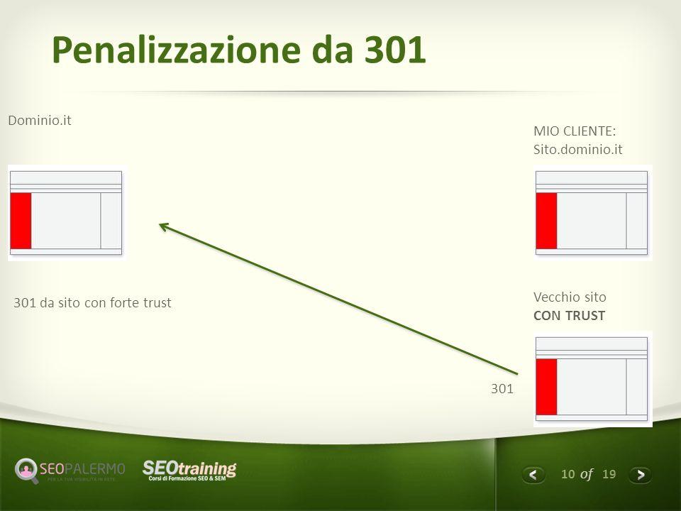 10 of 19 Penalizzazione da 301 Dominio.it MIO CLIENTE: Sito.dominio.it Vecchio sito CON TRUST 301 301 da sito con forte trust