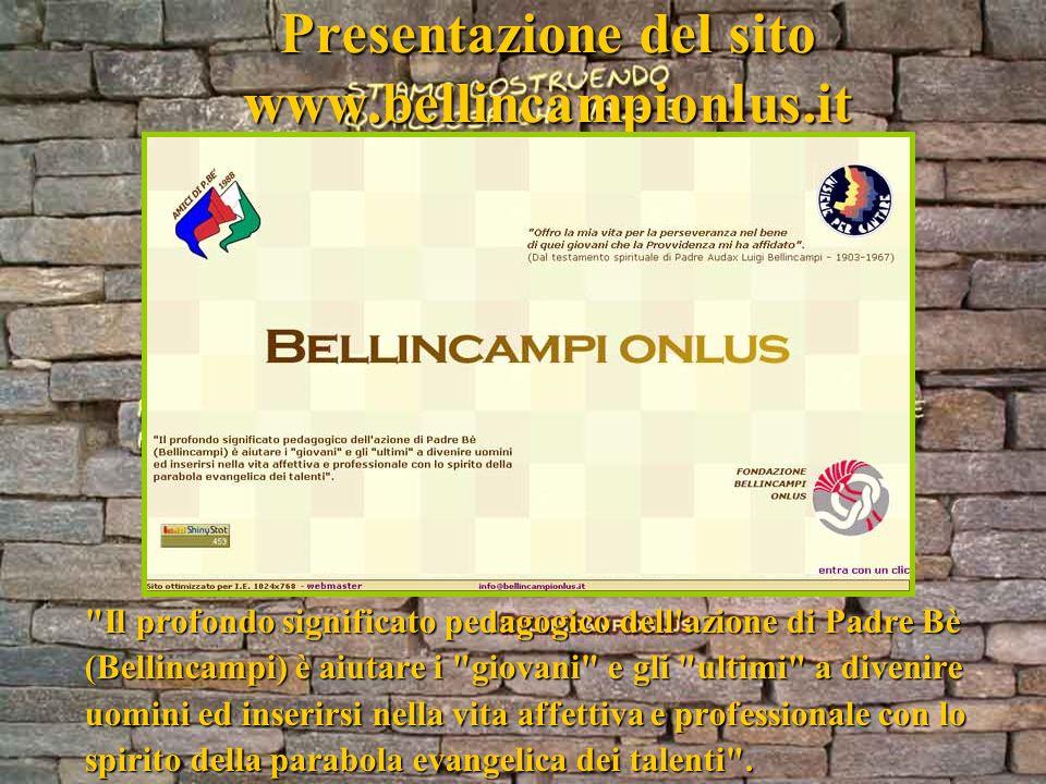 Presentazione del sito www.bellincampionlus.it