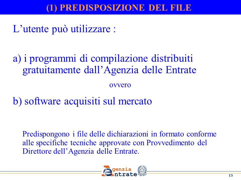 15 (1) PREDISPOSIZIONE DEL FILE Lutente può utilizzare : a) i programmi di compilazione distribuiti gratuitamente dallAgenzia delle Entrate ovvero b)