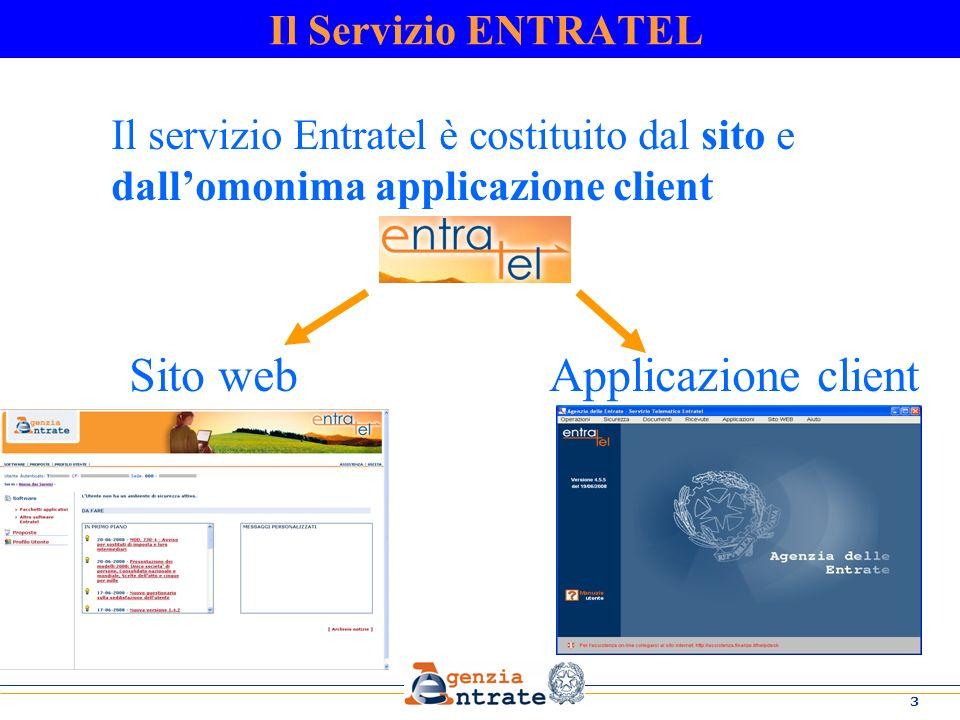 3 Il servizio Entratel è costituito dal sito e dallomonima applicazione client Sito web Applicazione client