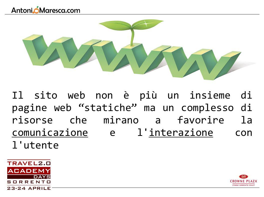 Il sito web non è più un insieme di pagine web statiche ma un complesso di risorse che mirano a favorire la comunicazione e l interazione con l utente