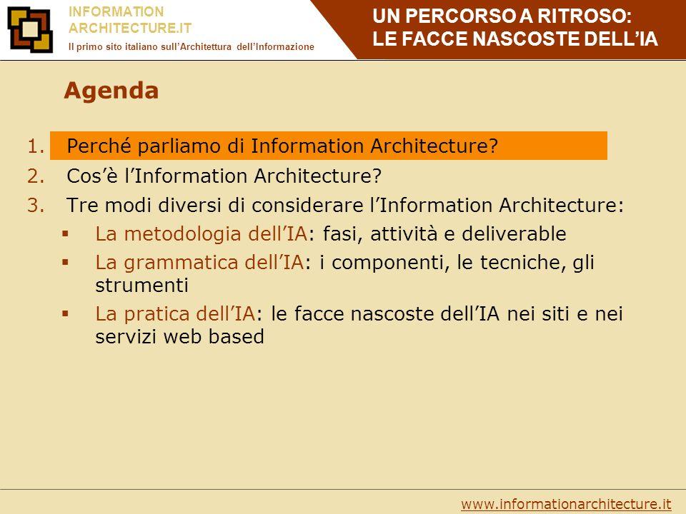 UN PERCORSO A RITROSO: LE FACCE NASCOSTE DELLIA www.informationarchitecture.it INFORMATION ARCHITECTURE.IT Il primo sito italiano sullArchitettura dellInformazione Sistemi organizzativi: come raggruppiamo le informazioni.