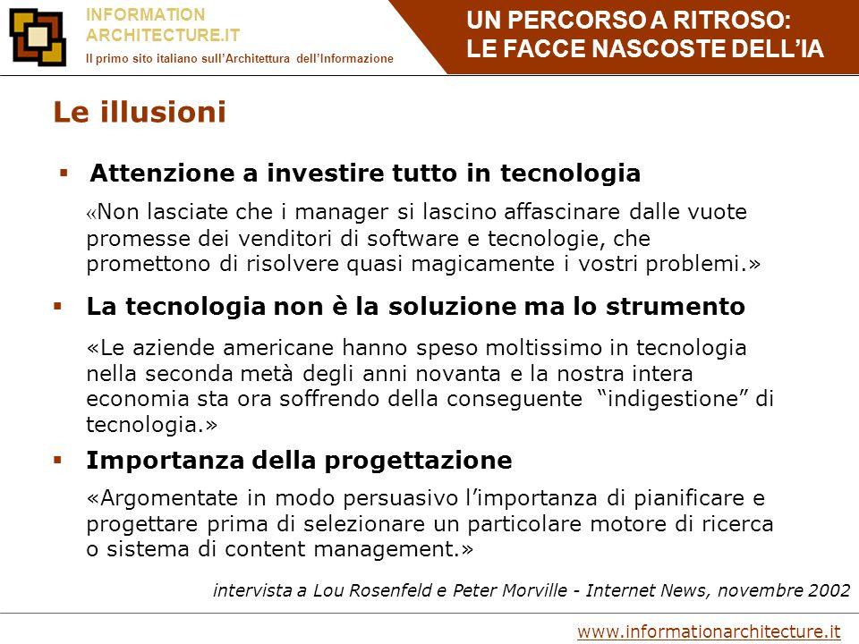 UN PERCORSO A RITROSO: LE FACCE NASCOSTE DELLIA www.informationarchitecture.it INFORMATION ARCHITECTURE.IT Il primo sito italiano sullArchitettura dellInformazione Tool per il Card Sorting