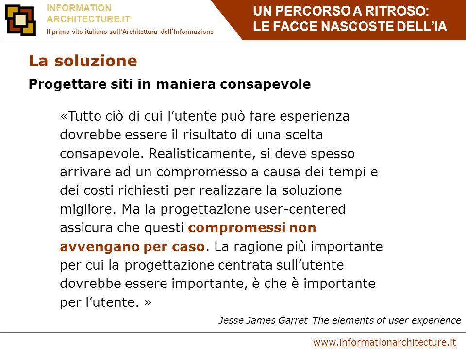 UN PERCORSO A RITROSO: LE FACCE NASCOSTE DELLIA www.informationarchitecture.it INFORMATION ARCHITECTURE.IT Il primo sito italiano sullArchitettura dellInformazione Da dove si parte nella progettazione.