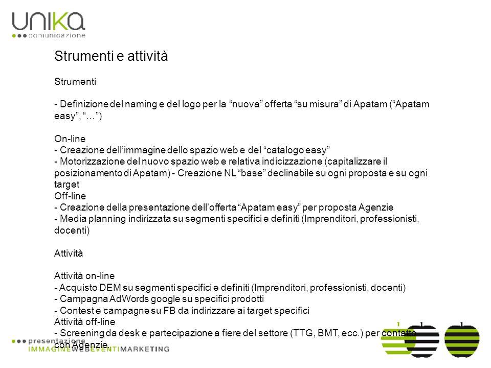 Strumenti e attività Strumenti - Definizione del naming e del logo per la nuova offerta su misura di Apatam (Apatam easy, …) On-line - Creazione dellimmagine dello spazio web e del catalogo easy - Motorizzazione del nuovo spazio web e relativa indicizzazione (capitalizzare il posizionamento di Apatam) - Creazione NL base declinabile su ogni proposta e su ogni target Off-line - Creazione della presentazione dellofferta Apatam easy per proposta Agenzie - Media planning indirizzata su segmenti specifici e definiti (Imprenditori, professionisti, docenti) Attività Attività on-line - Acquisto DEM su segmenti specifici e definiti (Imprenditori, professionisti, docenti) - Campagna AdWords google su specifici prodotti - Contest e campagne su FB da indirizzare ai target specifici Attività off-line - Screening da desk e partecipazione a fiere del settore (TTG, BMT, ecc.) per contatto con Agenzie.
