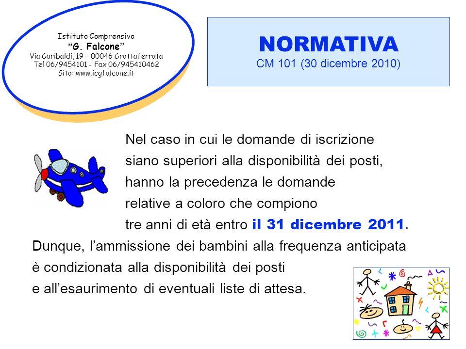 Istituto Comprensivo G. Falcone Via Garibaldi, 19 - 00046 Grottaferrata Tel 06/9454101 - Fax 06/945410462 Sito: www.icgfalcone.it NORMATIVA CM 101 (30
