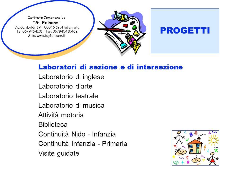 Istituto Comprensivo G. Falcone Via Garibaldi, 19 - 00046 Grottaferrata Tel 06/9454101 - Fax 06/945410462 Sito: www.icgfalcone.it PROGETTI Laboratori