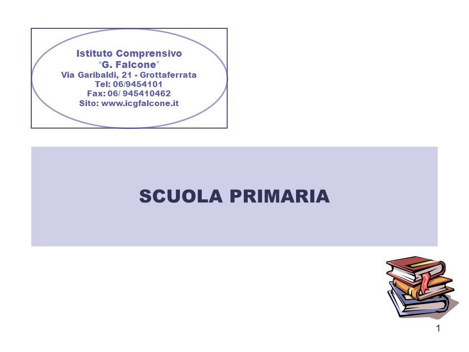 1 Istituto Comprensivo G. Falcone Via Garibaldi, 21 - Grottaferrata Tel: 06/9454101 Fax: 06/ 945410462 Sito: www.icgfalcone.it SCUOLA PRIMARIA