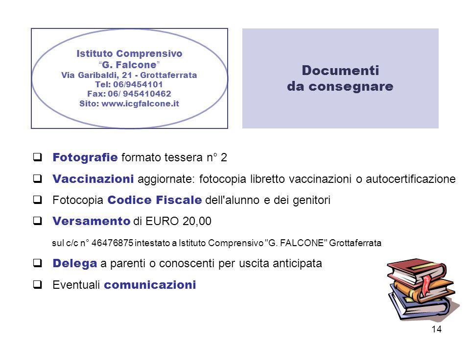 14 Istituto Comprensivo G. Falcone Via Garibaldi, 21 - Grottaferrata Tel: 06/9454101 Fax: 06/ 945410462 Sito: www.icgfalcone.it Fotografie formato tes