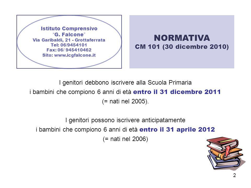 2 Istituto Comprensivo G. Falcone Via Garibaldi, 21 - Grottaferrata Tel: 06/9454101 Fax: 06/ 945410462 Sito: www.icgfalcone.it I genitori debbono iscr