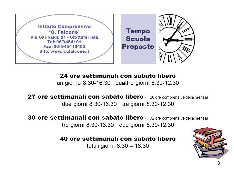 3 Istituto Comprensivo G. Falcone Via Garibaldi, 21 - Grottaferrata Tel: 06/9454101 Fax: 06/ 945410462 Sito: www.icgfalcone.it Tempo Scuola Proposto 2