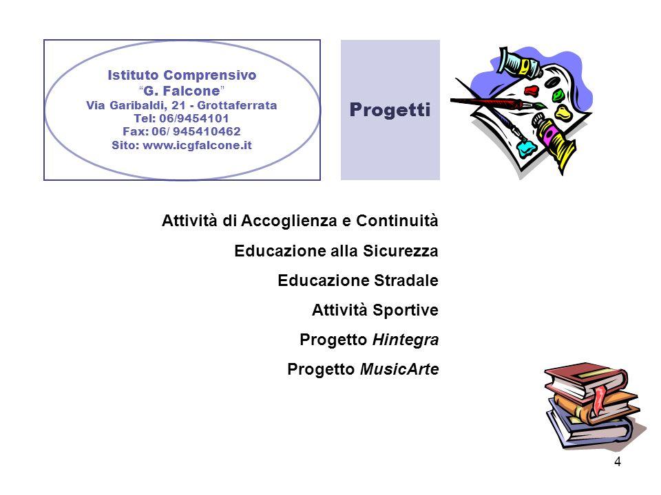 4 Istituto Comprensivo G. Falcone Via Garibaldi, 21 - Grottaferrata Tel: 06/9454101 Fax: 06/ 945410462 Sito: www.icgfalcone.it Progetti Attività di Ac