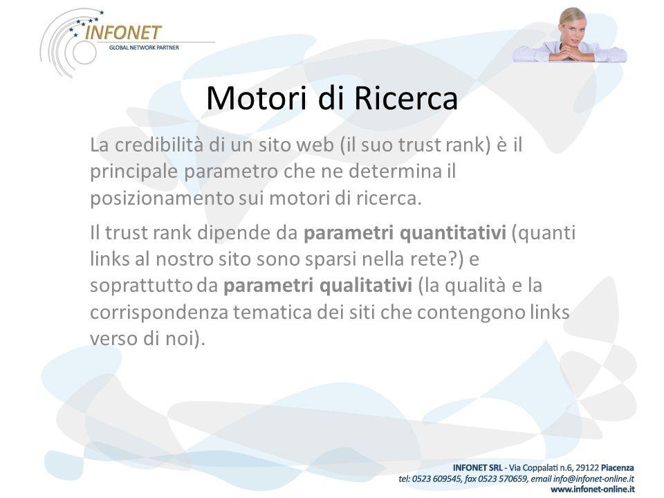 Motori di Ricerca La credibilità di un sito web (il suo trust rank) è il principale parametro che ne determina il posizionamento sui motori di ricerca.
