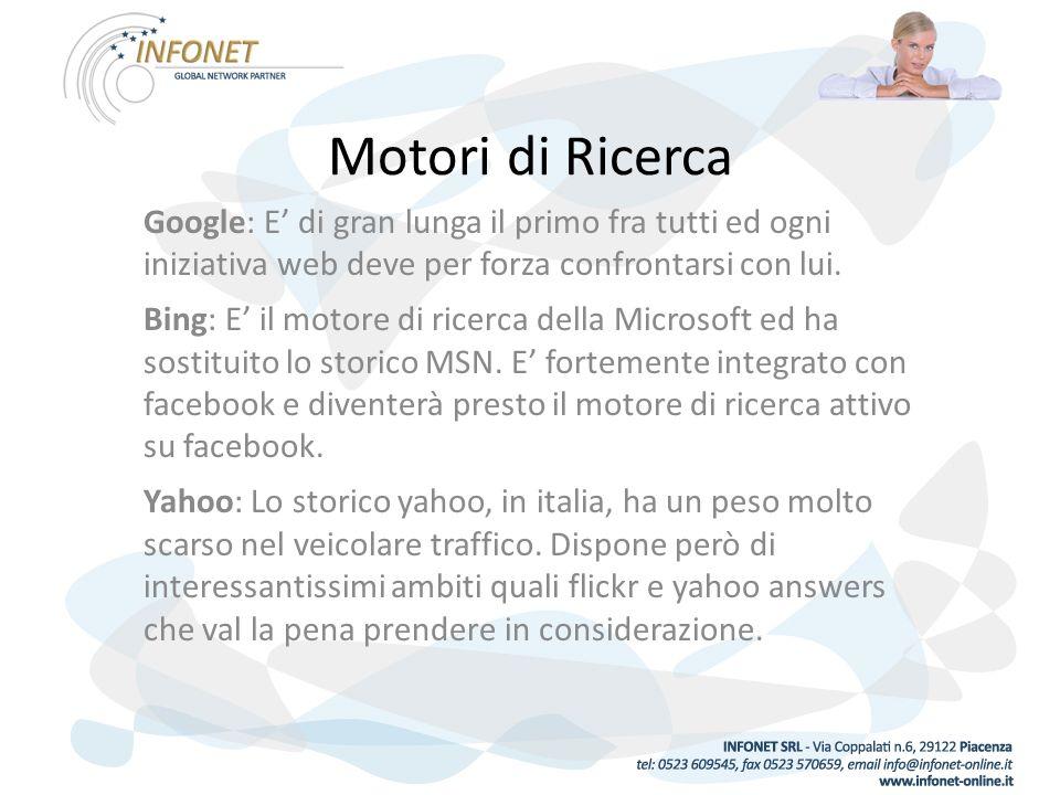 Motori di Ricerca Google: E di gran lunga il primo fra tutti ed ogni iniziativa web deve per forza confrontarsi con lui.