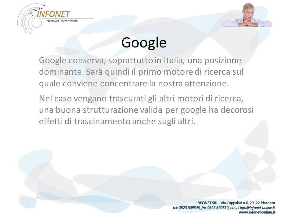 Google Google conserva, soprattutto in Italia, una posizione dominante.